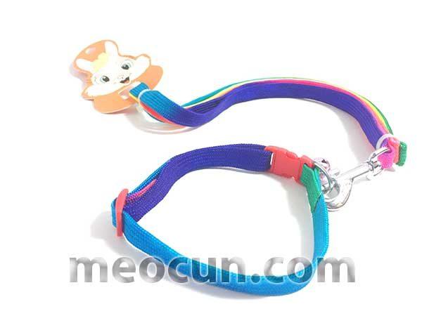 bộ dây vòng cổ 7 màu, dây dắt chó đẹp meocun.com