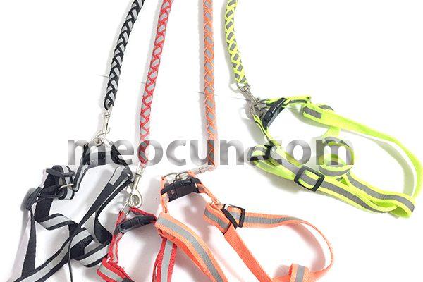 Bộ vòng cổ và dây dắt chó phát quang - phụ kiện chó mèo đẹp meocun.com