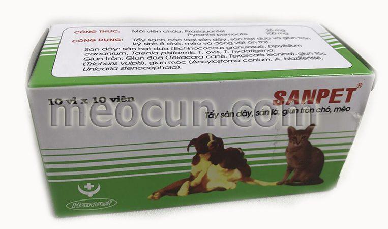 thuốc tẩy giun dạng sanpet cho chó mèo - thuốc thú y meocun.com