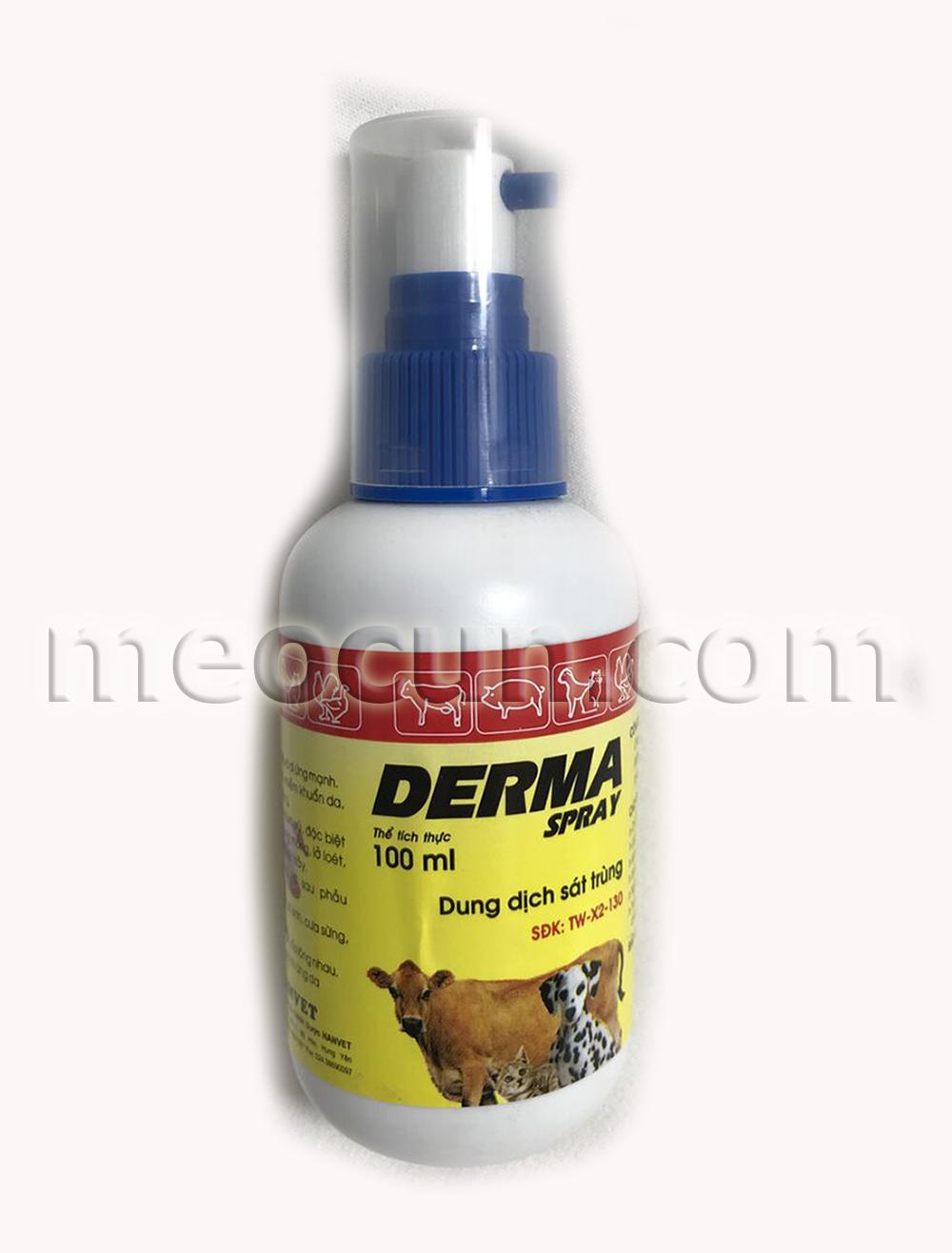 thuốc xịt viêm da cho chó mèo derma - thuốc xịt cho chó mèo meocunpetshop